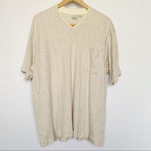 Vintage Haband Tan Beige V-Neck Short Sleeve Shirt